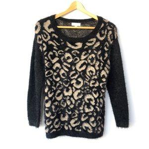 Joseph A. Leopard Print Soft Chenille Sweater